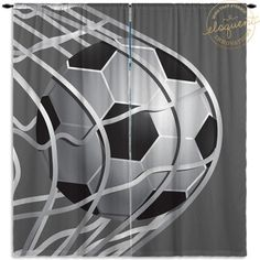 Boys Sports Curtains   Soccer Gray U0026 White   Sports Curtains   Kids Window  Curtain Panels Custom Size #267