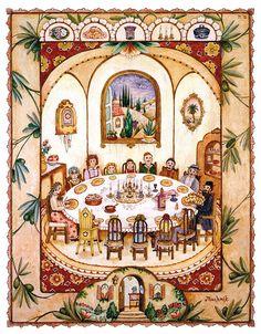 Shabbat Table by Michoel Muchnik - Shabbat Table Painting ...