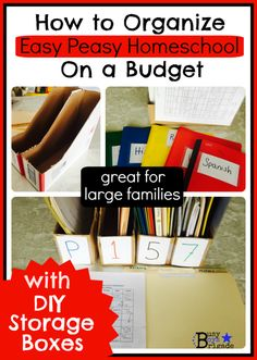 Budget approach to organizing homeschool materials and supplies. Easy Peasy Homeschool is highlighted.
