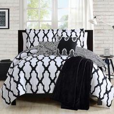 Alain Comforter Set in Black/White - BedBathandBeyond.com