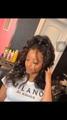 Lace Frontal Wigs Curly Hair Headband Hairstyles Curly Wigs Best Women Curly Wigs K Curl Headband Hair Piece Hair Ponytail Styles, Weave Ponytail Hairstyles, Kids Curly Hairstyles, Baddie Hairstyles, Headband Hairstyles, Curly Hair Styles, Hair Styles With Weave, Hairstyle Ideas, Hairstyles For Black Women