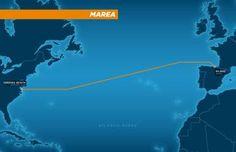 Imagen de los 6.600 kilómetros de conexión que cubrirá el cable Marea.