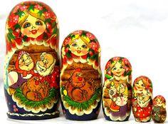 Nesting doll 5pcs Chicken Ryaba Russian fairy by Viktoriyasshop