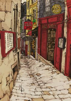 Kai Fine Art is an art website, shows painting and illustration works all over the world. Aesthetic Drawing, Aesthetic Art, Anime City, Illustration Art, Illustrations, Urban Sketching, Art Graphique, Anime Scenery, Environmental Art