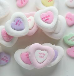 Homemade marshmallows with conversation hearts