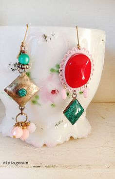 bohemianupcycled dangle drop earrings red glass cabochon by Arey