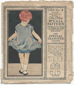 1920s Vintage Sewing Pattern McCall 3484 Antique Childs Dress and Bloomers