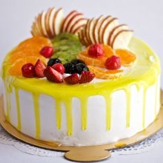 Online Cake Delivery in Delhi: We provide you Midnight Cake Delivery, Onlinecake.in is biggest online Cake Delivery in Delhi. Order Anniversary Cake Online, You can send cake online in anywhere in Delhi 24 Hour Fruit Birthday Cake, Fruit Wedding Cake, Smoothie Recipes With Yogurt, Fruit Recipes, Jelly Cake, Jelly Fruit, Fresh Fruit Cake, Fruit Cakes, Fruit Cake Cookies Recipe