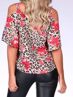 Stone and Red Animal Print Cold Shoulder Top - SK Purring in Prints Wet Look Leggings, Shiny Leggings, Hot Outfits, Stylish Outfits, Fashion Outfits, Thrift Store Diy Clothes, Sushi Costume, Diy Clothes Videos, Sexy Jeans