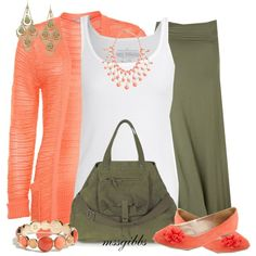 """Spring Olive & Coral"" by mssgibbs on Polyvore"
