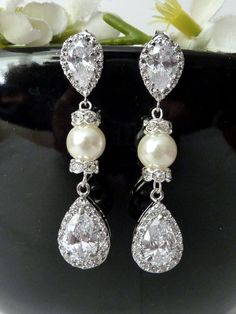 Bridal Earring  Halo White Clear Peardrop Cubic by JCBridalJewelry