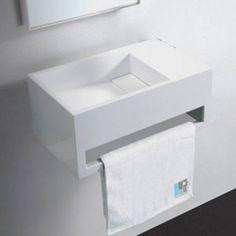 Envie d'un lave main design ? Découvrez le lavabo avec porte serviette Wishe sur le site de Rue du Bain.