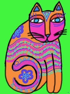 Laurel burch cat made using sketchbook express | Flickr - Photo Sharing!