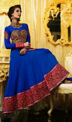 Blue Georgette Embroidered Long Anarkali Churidar Dress Price: Usa Dollar $126, British UK Pound £74, Euro93, Canada CA$135 , Indian Rs6804.