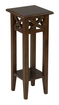 Small Wood Tall Table | Tall Medium Brown Pedestal Accent Country Style Small Wooden End Table ...