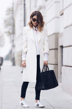 sporty and white long coat