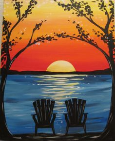 The Paint and Sip Experience - Patriot Place, MA Wine Painting, Painting & Drawing, Diy Canvas, Canvas Art, Canvas Ideas, Wine And Canvas, Easy Paintings, Sunset Paintings, Canvas Painting Sunset
