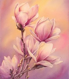artiste Marianne Broome. Fleurs Aquarelle