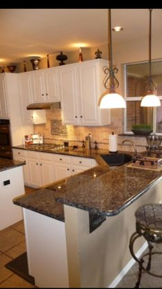 10 Outstanding Examples of Granite Kitchen Countertops Ideas - ARCHLUX.NET - 10 Outstanding Examples of Granite Kitchen Countertops Ideas – Modern Kitchen Countertop Ideas (F - Kitchen Countertop Materials, New Kitchen Cabinets, Painting Kitchen Cabinets, Kitchen Backsplash, Backsplash Ideas, Kitchen Sinks, Kitchen Paint, White Cabinets, Cupboards