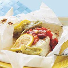 Lemon-Artichoke Halibut en Papillote   CookingLight.com