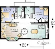 In-Law house use extra room as storage; remove hallway and closets to back porch to enlarge bathroom (add roll-in shower); create 1/2 bath for guests to use while visiting.   Detail du plan W3443