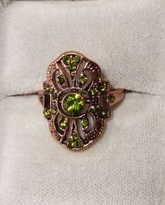 Art Deco Style Copper Ring with Green Rhinestones Size 6.75