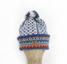 Vintage Dale of Norway Beanie  WOOL Knit Pom Ski Hat 1980s
