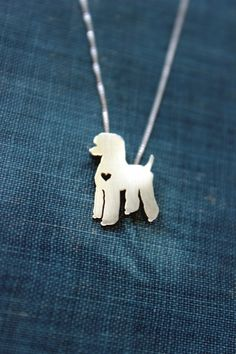 Standard Poodle necklace sterling silver hand by justplainsimple, $45.00