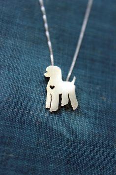 Collier de caniche standard, piquées-main en argent sterling pendentif, coeur, bijoux de race de petit chien