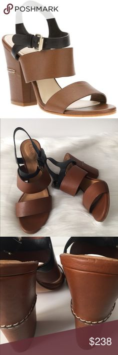 Chloe Women's Sandals Block Heel Chloe Taupe and black sandals size 6.5, heel 3.75, leather made in Italy, minor wear to sole small nick on heel overall in Excellent condition.   Jn17B14 Chloe Shoes Sandals