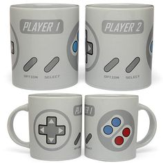 "Gamer couples will love this 2-Player Gaming Mug Set. Apart, you are but two separate areas of the controller, but together, you can beat that high score.  One mug reads ""Player 1"" & the other reads ""Player 2""."
