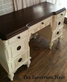 Old white Chalk Paint Bottom The Ironstone Nest Java Gel Top by General Finishes