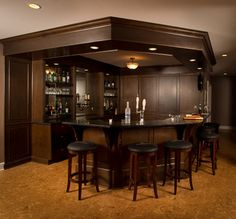 Northport House - traditional - Home Bar - Boston - Kitchen Center of Framingham Rustic Basement Bar, Cozy Basement, Basement Bar Designs, Home Bar Designs, Basement Ideas, Home Bar Sets, Home Wet Bar, Diy Home Bar, Bars For Home
