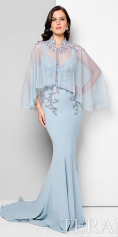 25 Gorgeous Mother of The Bride Dresses Elegant sky blue mother of the bride gown with beaded top, mermaid style skirt and tulle capelet cover-up by Terani Couture Terani Dresses, Mob Dresses, Bridesmaid Dresses, Bride Dresses, Homecoming Dresses, Wedding Dresses, Designer Evening Dresses, Designer Gowns, Evening Gowns