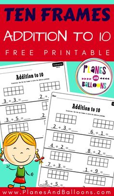 Ten frame addition to 10 worksheets - Planes & Balloons Kindergarten Addition Worksheets, Teaching Addition, Number Sense Kindergarten, Kindergarten Math Activities, Math Games, Math Math, Addition Games, Math Multiplication, Math Addition