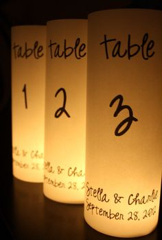 Table Numbers - Luminaries - Unique & Beautiful - 10 Count. $25.00, via Etsy.