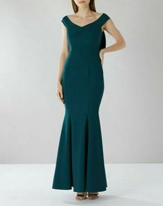 Coast Green Party Dress Maxi Mel Fishtail Bardot Bow Cocktail Wedding 8 36 New #Coast #Maxi #PartyCocktail
