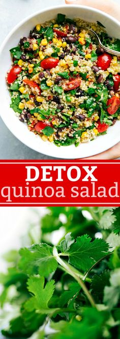 A super healthy detox quinoa and veggie salad made with all natural ingredients that are good for you and help to detox your body! chelseasmessyapron.com