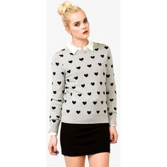 Forever 21 Women's  Heart Pattern Sweater ($23) ❤ liked on Polyvore featuring tops, sweaters, forever 21 sweaters, heart print sweater, round neck sweater, long sleeve sweaters and white top