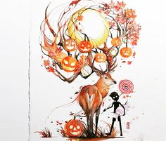 Sweet Autumn watercolor painting by Art Jongkie