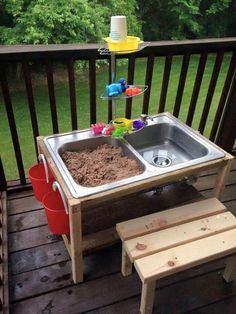 DIY sand and water table made from double sink