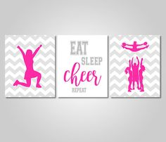 Cheerleading Wall Art Decor Instant Download Printable - Cheer Wall Art Prints - Pink Grey Cheer Bedroom Decor by KookyburraPrints on Etsy https://www.etsy.com/listing/487107278/cheerleading-wall-art-decor-instant