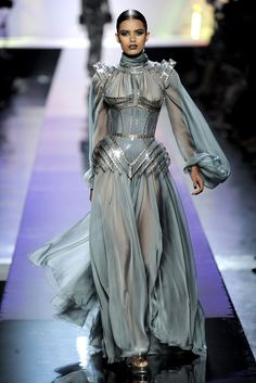 "Fall 2009 Couture - Jean Paul Gaultier inspired by the ""Bagpipe"" sleeves of the Late Middle Ages."