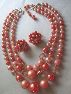 C. 1960s. gorgeous-vintage-peach-multo-strand-and