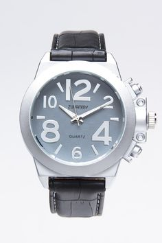ZUNAMMY GREY DIAL WITH BLACK LEATHER BAND WATCH