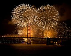 Golden Gate Bridge, San Francisco, California, USA 75th Anniversary Fireworks show