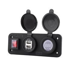 Portatile Impermeabile Adattatore Dual USB Presa Elettrica per Auto 12-24 V Camion e Ecc. Barca Blu Marina Camper 4 in 1 LED Universale 12V Auto Accendisigari Splitter