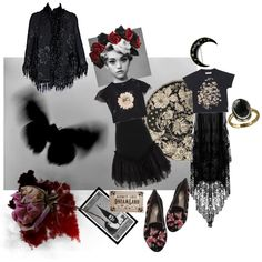 grave florals by kissinghorcruxes on Polyvore featuring polyvore fashion style The Row Notte by Marchesa Des Petits Hauts forest dark witchy decay graveyards flower petal florals