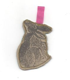 Linocut Rabbit Ornament by minouette on Etsy, $7.00