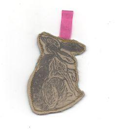 Linocut Rabbit Ornament by minouette on Etsy, $7.00